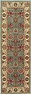 Ottomanson New Ottohome Collection Style Oriental Sage Green/Aqua Blue Runner (1'10