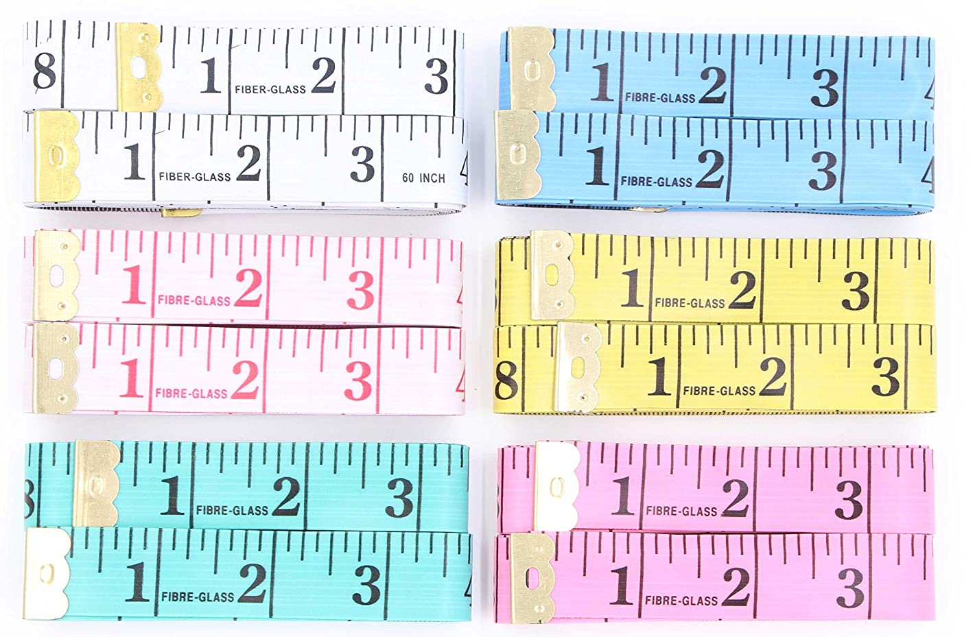 Soft Tape Measure For Sewing - LeBeila 12 Pack Measuring Tape For Body Measurements Flexible Fibre Glass Reverse Side Tailor Cloth Ruler 60