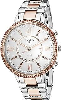 Fossil Virginia Reloj Inteligente híbrido de Acero Inoxidable para Mujer, 2t- Silver Rose, Una Talla