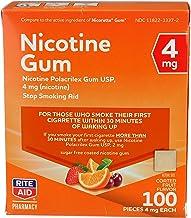 Rite Aid Nicotine Gum, 4 mg - 100 Count   Quit Smoking Aid   Nicotine Replacement Gum (Fruit)