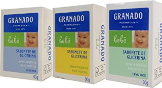 Linha Bebe Granado - Sabonete em Barra de Glicerina Sortidos (3 x 90 Gr) - (Granado Baby Collection - Classic Glycerin Bar Soap Net (3 x 3.2 Oz))