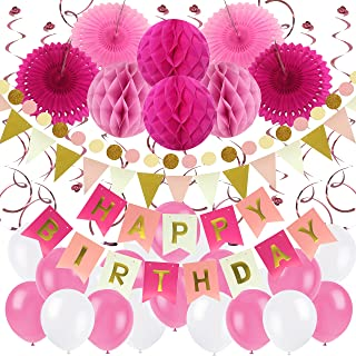 Zerodeco Birthday Party Decoration, Happy Birthday Banner with Paper Fans, Honeycomb Balls, Triangular Pennants, Circle Paper Garland, Hanging Swirls and Balloons - Pink, Rose Red and White