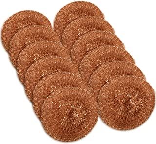 12 Pack Copper Coated Scourers by Scrub It – Scrubber Pad Used for Dishes, Pots, Pans, and Ovens. Easy scouring for Tough Kitchen Cleaning.