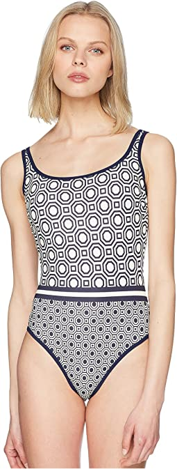Geo Octagon Square Tank Suit