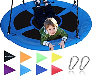 """Royal Oak Giant 40"""" Saucer Tree Swing with Bonus Carabiners and Flags, 700 lb Weight.."""
