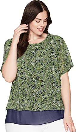 Plus Size Paisley Paradise Short Sleeve Top