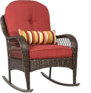 Best Choice Products Outdoor Wicker Patio Rocking Chair w/Weather-Resistant Cushions and Steel Frame, Red