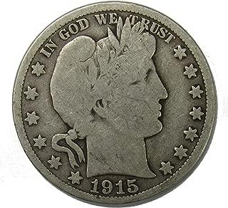 1915 S Silver Barber Half Dollar 50c Very Good