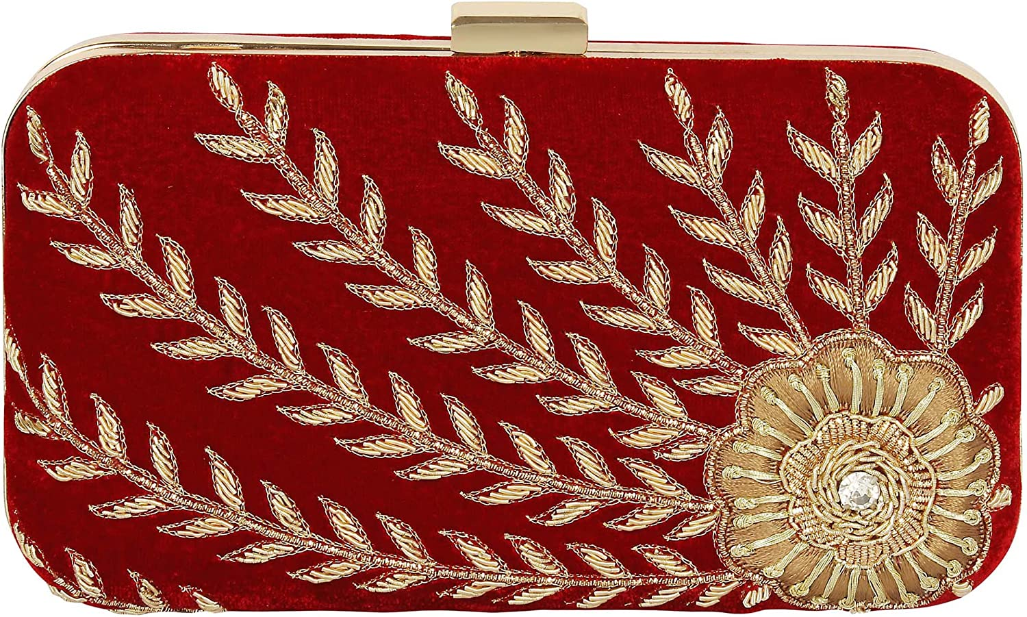 { Extra 10% Discount } Purse Collection Red Handmade Bridal Clutch With Embroidery Work Purses For Women's