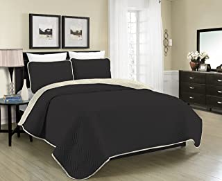 Blissful Living Reversible Luxury Pinsonic Solid Quilt Set Including Shams – Lightweight and Soft for All Year Round Comfort, Available in Twin, Full/Queen and King Size (Black/Cream, King)