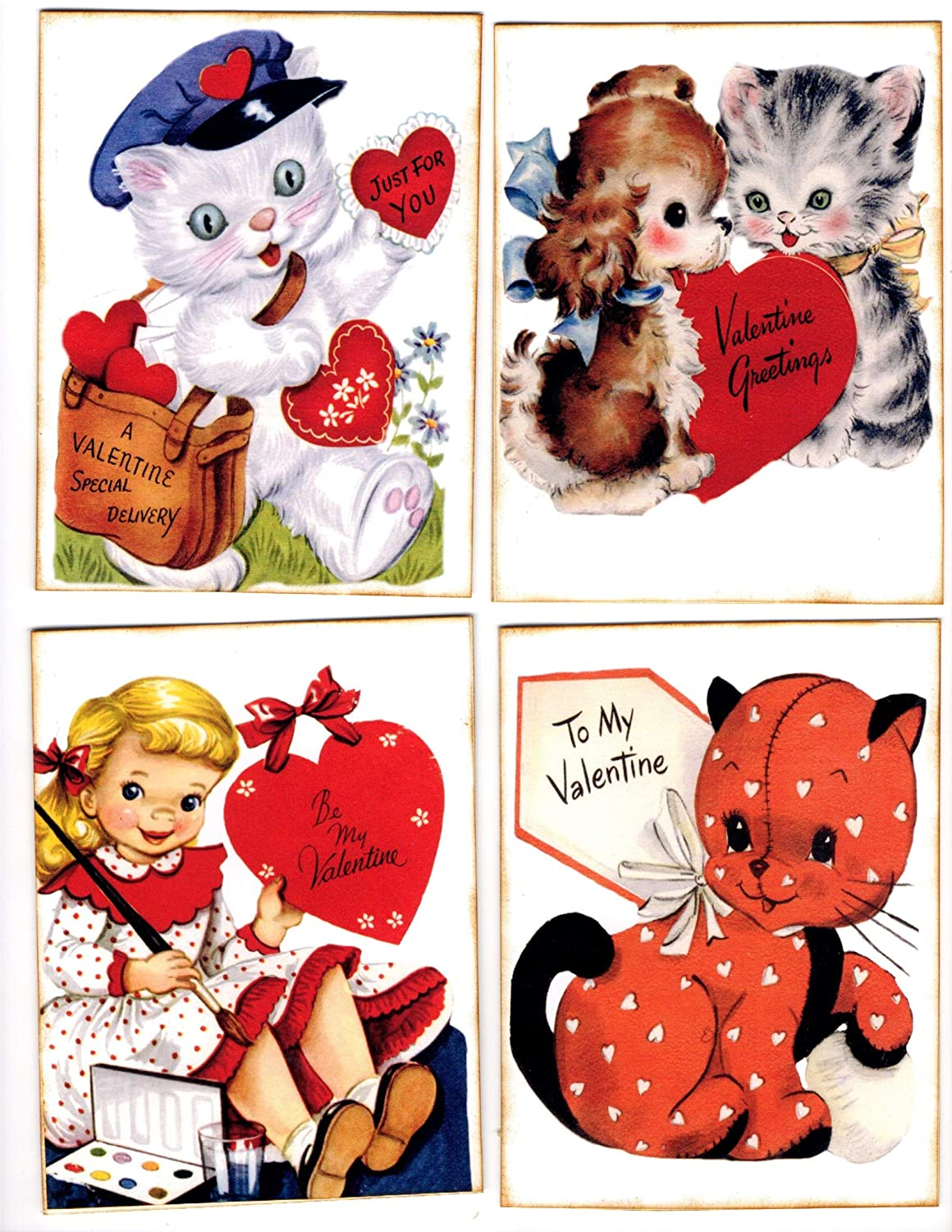 Max 57% OFF Valentine 8 Retro Images on Cards Limited price sale Red With Envelopes