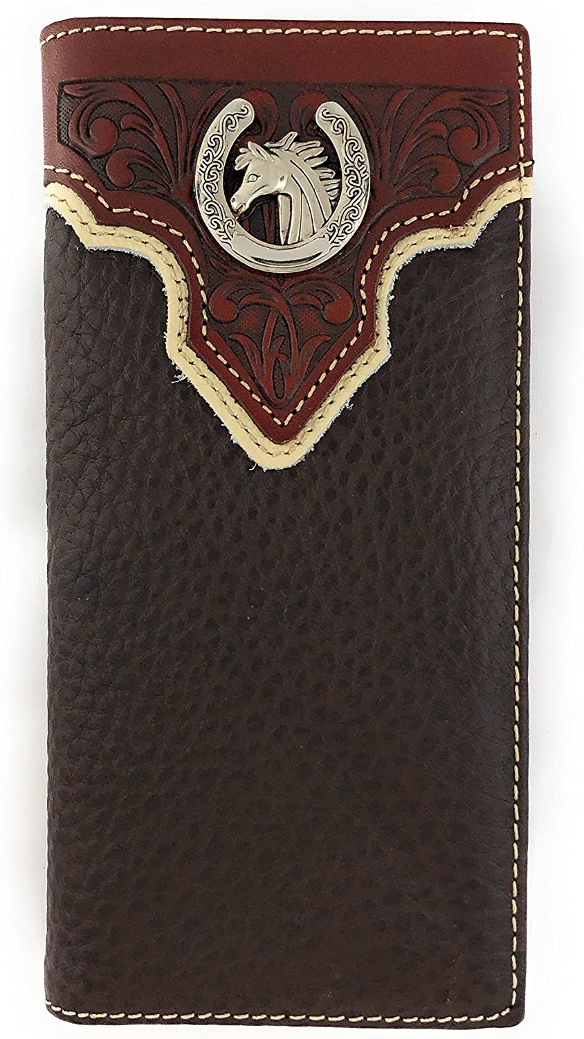 Men's Western Rodeo Genuine Leather Concho Bifold Long Wallet