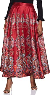 Label Red Flared Skirt