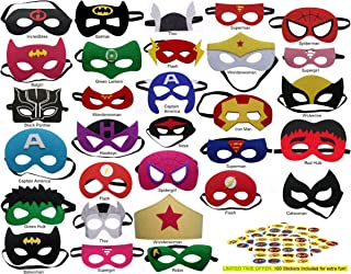 Superhero Felt Masks Avengers 100 Stickers Included 30 Pack Party Supplies Favors Kids Costume Marvel