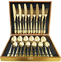 Flatware Set, Magicpro Modern Royal 24-Pieces gold Stainless Steel Flatware for Wedding Festival Christmas Party, Service For 6