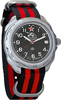 Vostok Komandirskie Russian Tank Forces Army Mechanical Mens Military Commander Wrist Watch #211306 (Black+red)