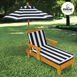 Elegant Popular Kids Toddlers Dark Blue/White Backyard Patio Deck Chaise Lounge Chair With Matching Umbrella- Beautiful Stylish Lightweight- Weatherproof Finish Portable Durable Sturdy- Summer Fun