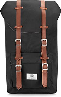 SEVENTEEN LONDON – Modern Unisex Outdoor Waterproof Hiking Black Backpack with Classic Brown Belt Detailing – Fits Laptop up to 15.6""