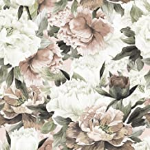 WallsByMe Peel and Stick White and Pink Flower Fabric Removable Wallpaper 8983-2ft x 8.5ft (61x260cm)