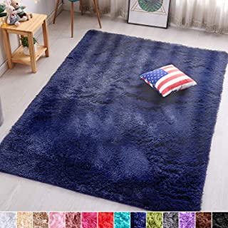 PAGISOFE Navy Fluffy Shag Area Rugs for Bedroom, 5'x7',...