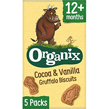 Organix Gruffalo Biscuits Organic Cocoa & Vanilla Toddler Snacks Multipack 5x20g (Pack of 3, Total 15 Bags)