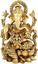Brass Statue Ganesha Sitting On Lotus Large Indian Gift Items Hinduism Decor 13 inch Large Ganesh Idol Figurine Elephant G...