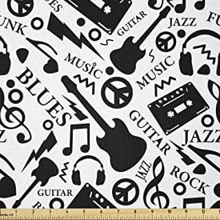 Ambesonne Music Fabric by The Yard, Blues Jazz Punk Rock Various Type of Folk Indie Rap Reggae Peace Sign Sing Artwork, St...