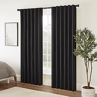 "ECLIPSE Fresno Modern Blackout Thermal Rod Pocket Window Curtains for Bedroom or Living Room (Single Panel), 52"" x 84"", Black"