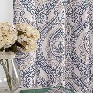 """jinchan Damask Printed Curtains for Bedroom Drapes Vintage Linen Blend Medallion Curtain Panels Window Treatments for Living Room Patio Door 1 Pair 63"""" Blue"""