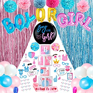 SunEye Gender Reveal Party Supplies | Boy OR Girl Party Decorations with Pom Poms, Blue and Pink Confetti and Fringe Curta...
