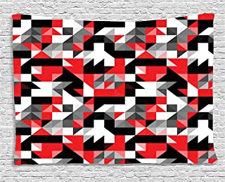Ambesonne Red and Black Tapestry, Abstract Geometric Half Triangles Squares Maze Inspired Image, Wide Wall Hanging for Bedroom Living Room Dorm, 80