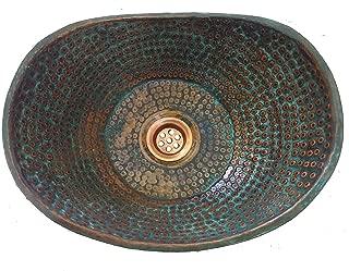 Rustic Compact Small Green Patina Aged Distressed Vessel Bathtub Pure Copper Bathroom Vanity Sink Bath Bowl