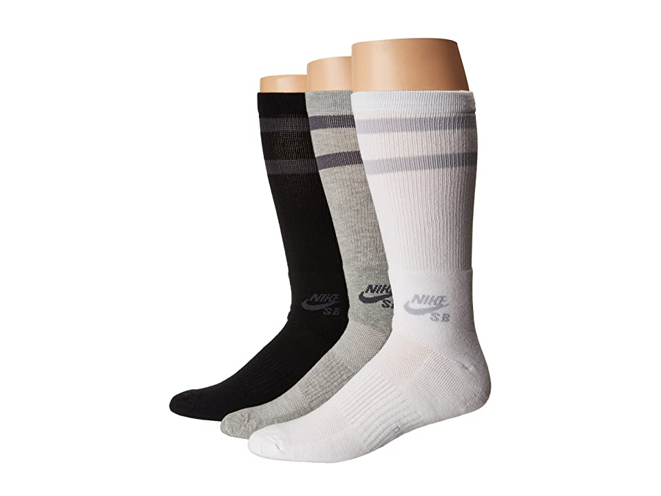 Nike Crew Skateboarding Socks 3-Pair Pack (Black/White/Dk Grey Heather) Crew Cut Socks Shoes