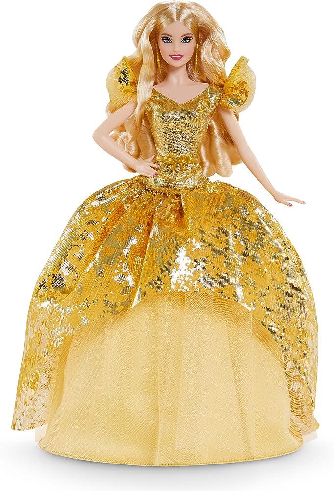 Barbie signature magia delle feste 2020 con abito dorato, piedistallo e certificato di autenticità GHT54