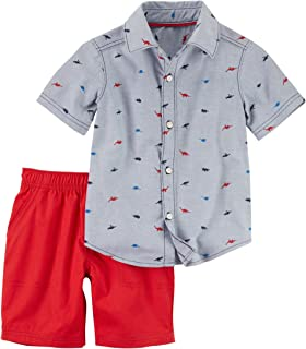 Carter ' s 婴儿男孩款棉质条纹 POLO 衫和法式短裤套装