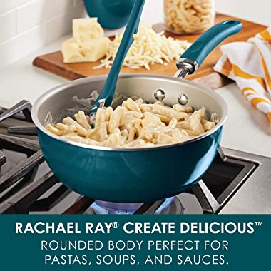 Rachael Ray Create Delicious Nonstick Saute / All Purpose Pan with Lid, 3 Quart - Teal Shimmer, teal shimmer blue