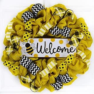Bee Burlap Door Wreath | Honeybee Welcome Colorful Summer Wreath | Yellow Black White