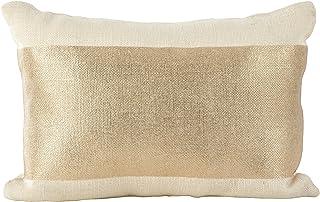 3d4d66ea01e0 SARO LIFESTYLE Metallic Banded Foil Design Burlap Jute Down Filled Throw  Pillow, 14
