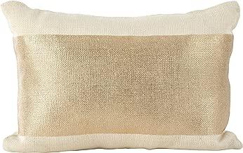SARO LIFESTYLE Metallic Banded Foil Design Burlap Jute Down Filled Throw Pillow, 14 x 20, Ivory