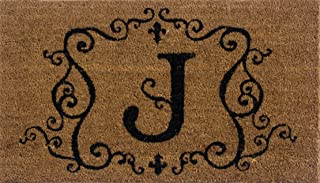 Evergreen 2RM010 Monogram Door Mat, Coir Insert, Letter J, 16-Inches x 28-Inches