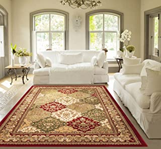 Monarch Panel Multi Color Red Oriental Area Rug Persian Formal Traditional Area Rug 8' x 11' Easy Clean Stain Fade Resistant Shed Free Modern Classic Contemporary Thick Soft Plush Living Dining Room