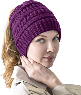 TZ Promise Women's Knitted Messy Bun Hat Ponytail Beanie Baggy Chunky Stretch Slouchy Winter