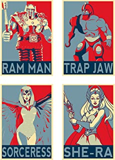 Wall Art Masters of The Universe Anime Characters Ram Man Trap Jaw Sorceress She-Ra Poster Prints Set of 4 Size A4 (21cm x...