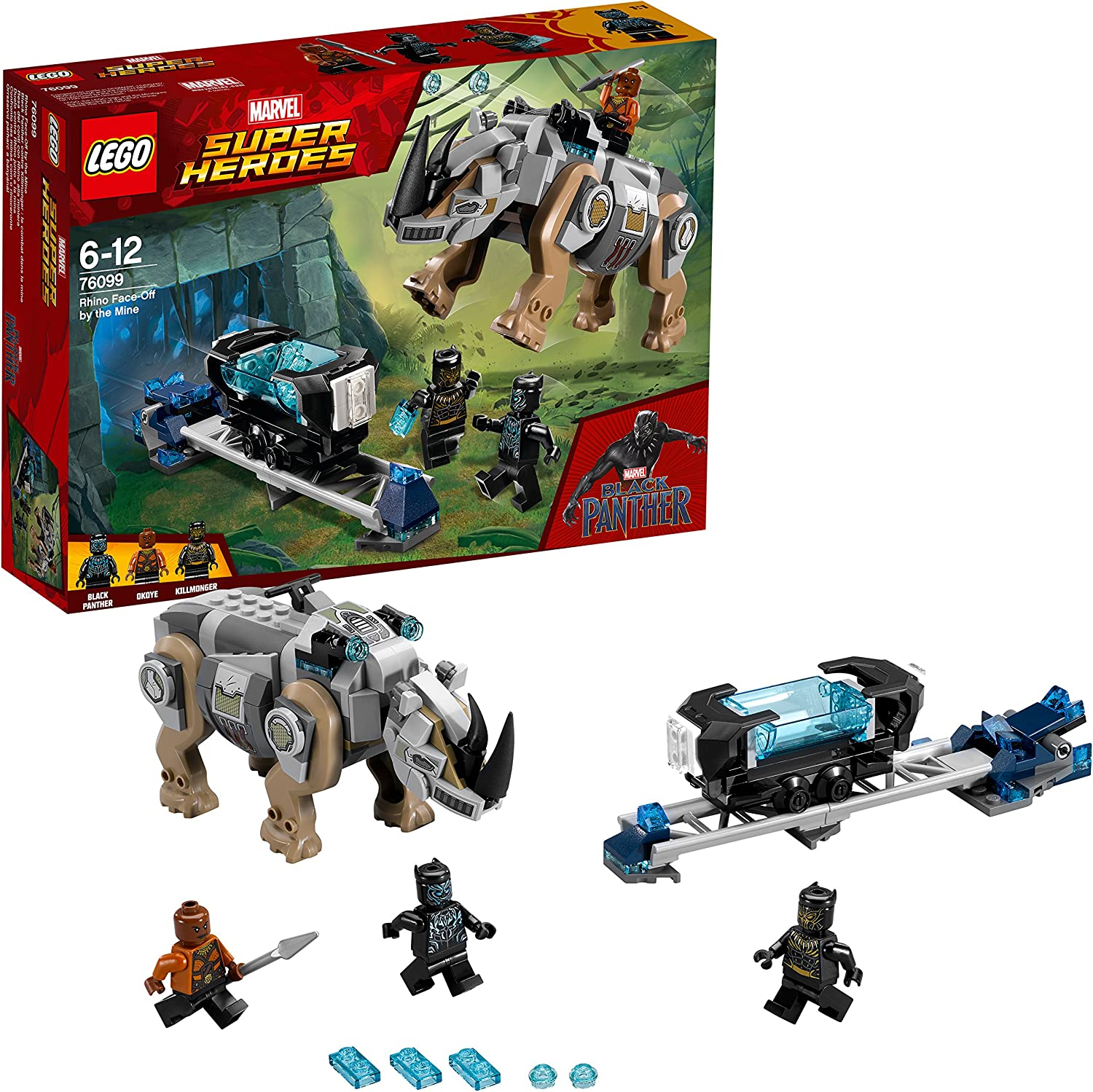 LEGO UK  76099 Marvel Super Heroes Rhino FaceOff by the Mine Toy for Boys and Girls