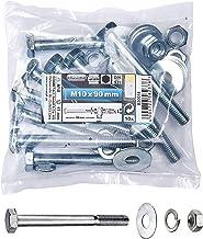 Connex zeskantschroevenset M10 x 90 mm, verzinkt, DIN 931, 10 stuks, B30018 M10 x 90 zilver