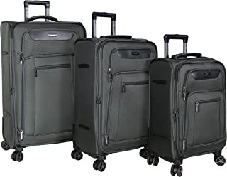 Dejuno Executive New Generation 3-Piece Spinner Luggage Set with USB Port, Grey