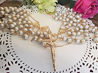 White Pearls Gold Plated Crystal Wedding Lasso/Crystal Wedding Rosary/Lazo De Boda De Crystal
