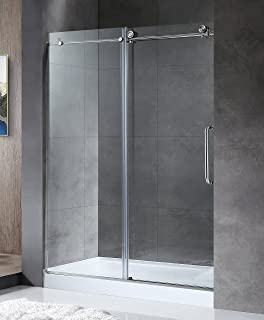 ANZZI Madam 76 x 60 inch Frameless Sliding Shower Door in Brushed Nickel with Handle | Clear Tempered Deco Glass Shower Doors with Symmetrical Design for Reversible Installation | SD-AZ13-02BN