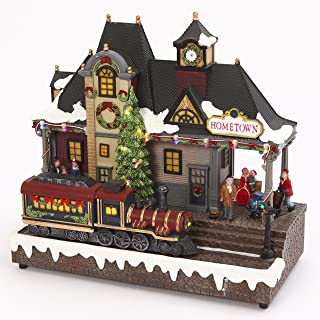 LED Lighted Musical Train Station with Animated Moving Train - Christmas Village Holiday Decoration