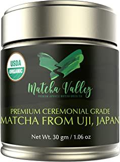 Matcha Valley Sale Organic Matcha Green Tea Powder From Uji, Japan - USDA Certified Matcha GreenTea Ceremonial 30 GM - 137x Antioxidants